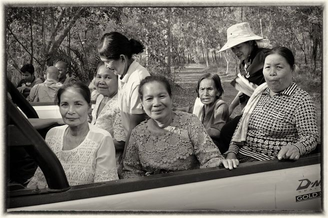 The Aunties pile into Mai's pickup truck for the trip back to the house