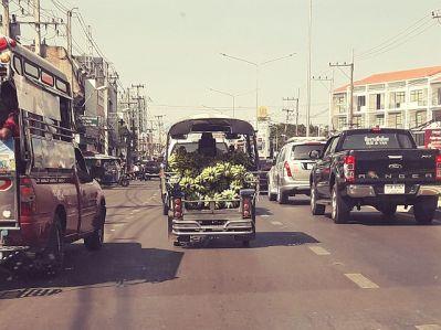 Tuk tuk loaded with bananas